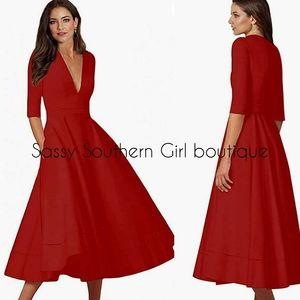 🆕⭐Red quarter sleeve deep v-neck dress